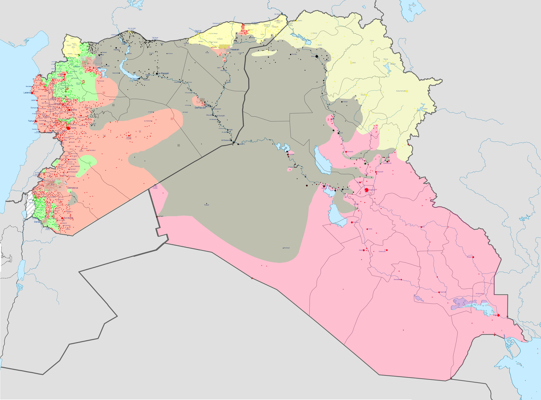 Syrien Karte Krieg.Kartenmaterial