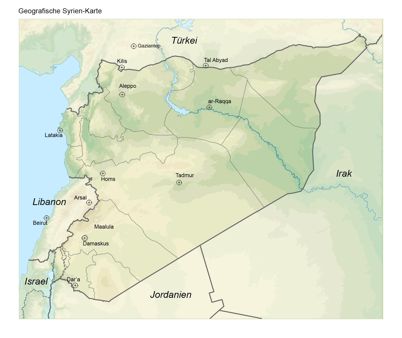 Syrien Karte Mit Städten.Winter So Weit