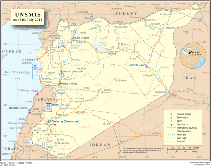 Geographische Karte Syrien (http://commons.wikimedia.org/wiki/Maps_of_Syria#mediaviewer/File:UNSMIS_map_2012.png)