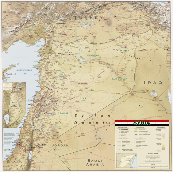 Geographische Karte Syrien (http://upload.wikimedia.org/wikipedia/commons/6/63/Syria_2004_CIA_map.jpg)