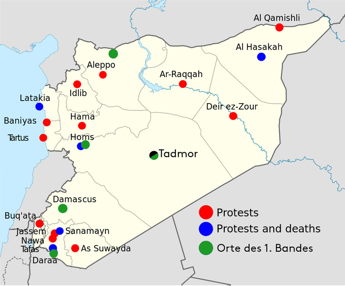 Syrische Proteste 2011 (http://commons.wikimedia.org/wiki/Category:Maps_of_the_Syrian_Civil_War_%282011-present%29#mediaviewer/File:2011_Syria_protests.png)